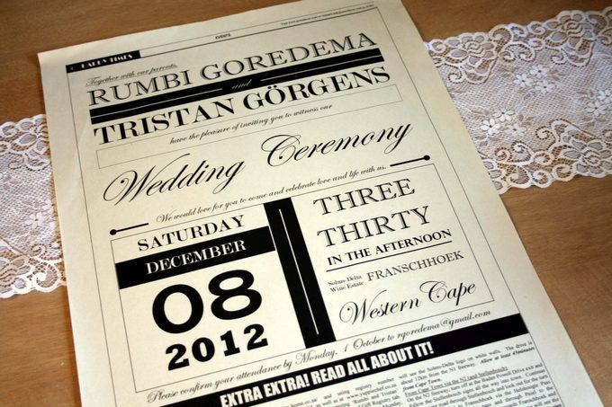 Newspaper Wedding Invitation - this would be a cute format for save the dates