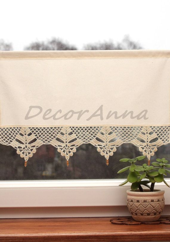 Crochet ecru curtain curtain with crochet lace. by DecorAnna, $32.00