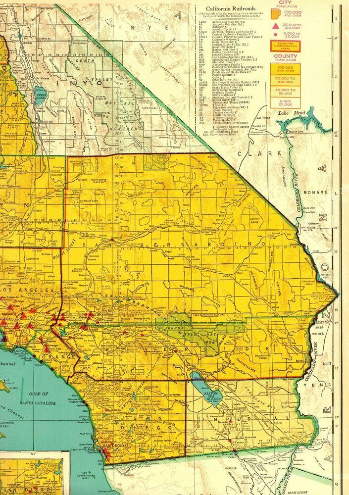 1956 Antique Southern CALIFORNIA Map w RAILROADS Rare POSTER ...