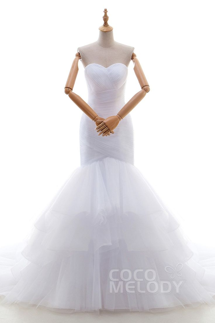 Modern+Trumpet-Mermaid+Sweetheart+Dropped+Chapel+Train+Tulle+White+Sleeveless+Zipper+Wedding+Dress+with+Ruffles+and+Pleating+LD4405