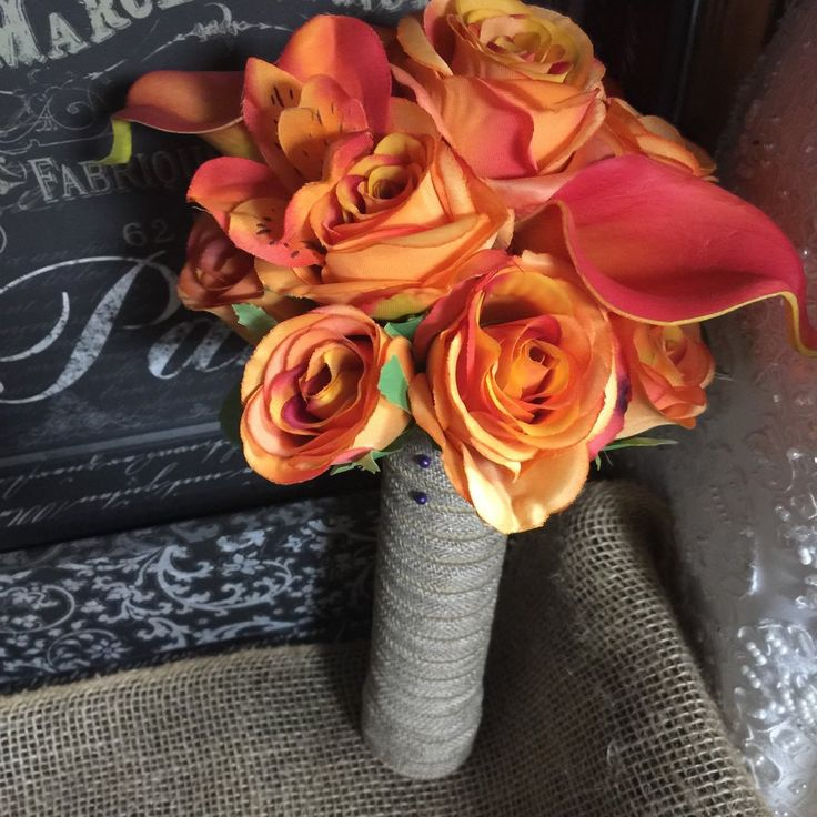 5 piece Orange Rose & Calla Lily Fall Wedding Bouquet Set, Orange Bouquet, Orange Rose Bouquet, Burlap Bouquet, Fall Orange Bouquet