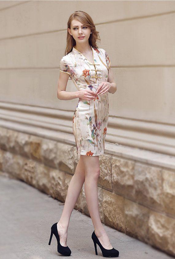 asual silk women dress for Spring, Summer and Autumn - V neck floral dress - short sleeve women clothing cheongsam qipao dress