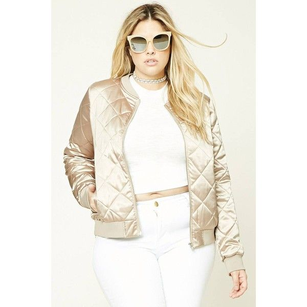 Forever21 Plus Size Quilted Bomber Jacket (1,670 INR) ❤ liked on Polyvore featuring outerwear, jackets, patterned bomber jacket, women's plus size bomber jacket, metallic jacket, print bomber jacket and plus size white jacket