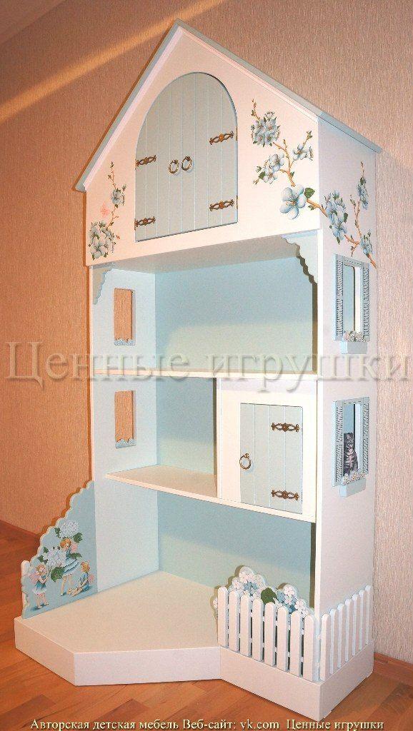 """Стеллаж-домик """"Феи""""   15 фотографий детская мебель на заказ, детский шкаф, детский стеллаж. Детская мебель, детский стеллаж. Стеллаж-домик, авторская работа, ручная роспись. Высота 190 см, ширина 90 см, глубина 30 см. DollHouse Bookcase"""