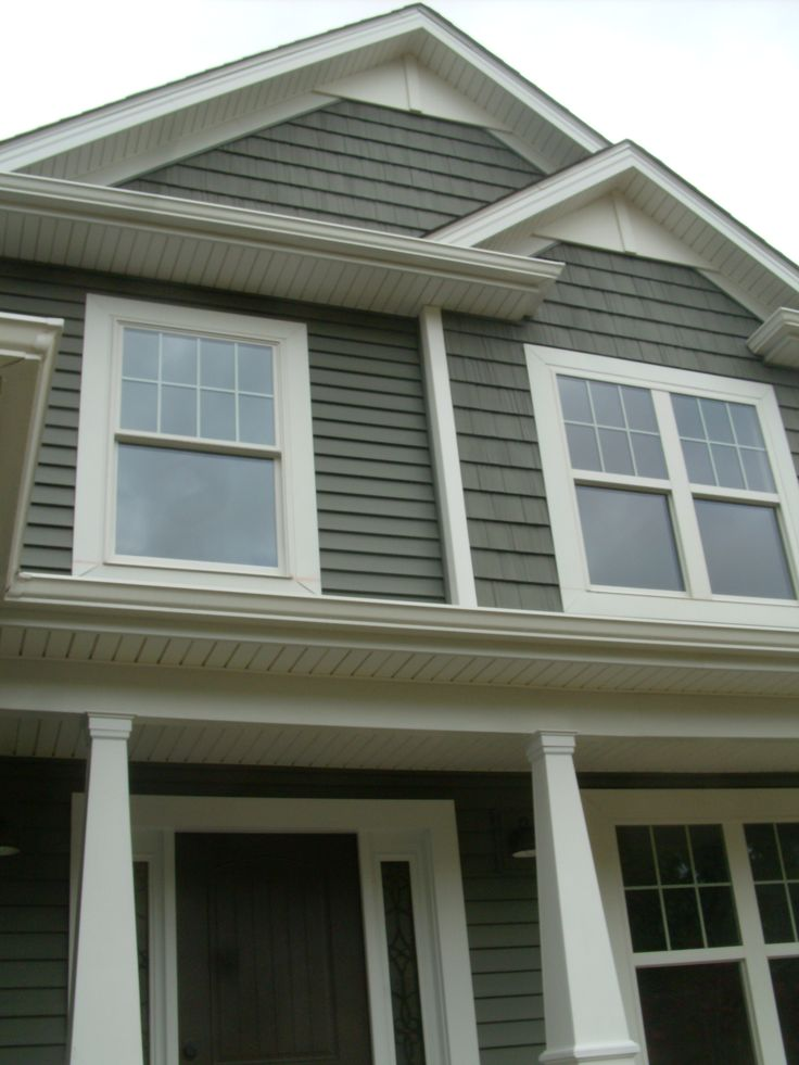 Alside Deep Moss Siding And Shakes White Pvc Accents In