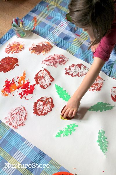 fall leaf printing in preschool