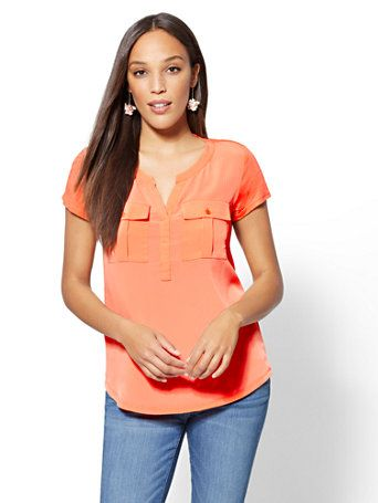 b5b5cee12 Shop Split-Neck Double-Pocket Tee. Find your perfect size online at the best  price at New York   Company.