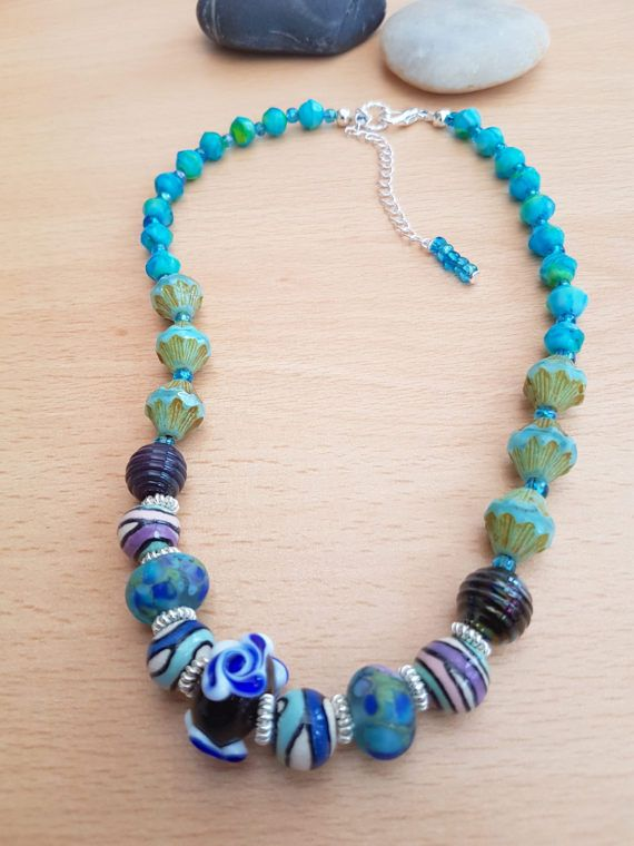 Handmade glass necklace Lamp work necklace Blue by SweetgemsDesign