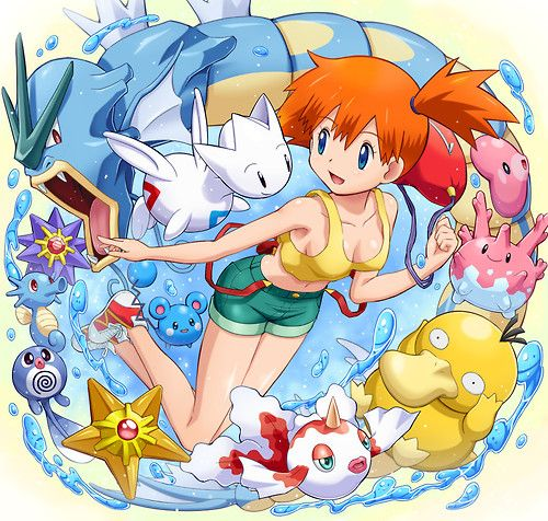 Misty and her Pokémons: Psyduck, Gyarados, Corsola, Goldeen, Poliwag, Horsea, Staryu, Azurill, Starmie, Togetic and Luvdisc.