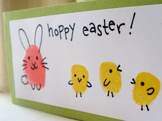 Fingerprint Bunnies and Chicks - Kids will love covering their fingers in ink for this adorable Easter greeting card.
