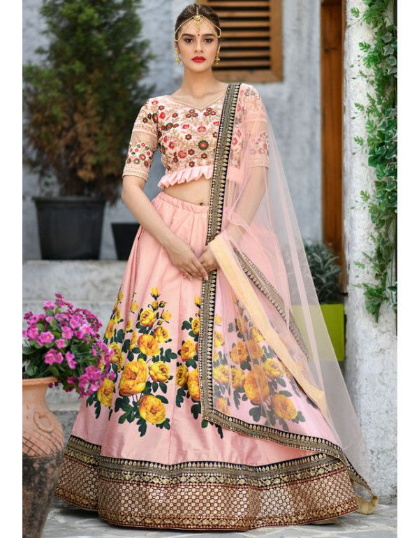 9dc3c09bffc Peach Silk Lehenga Choli in 2019 | Lehenga Choli | Indian wedding ...