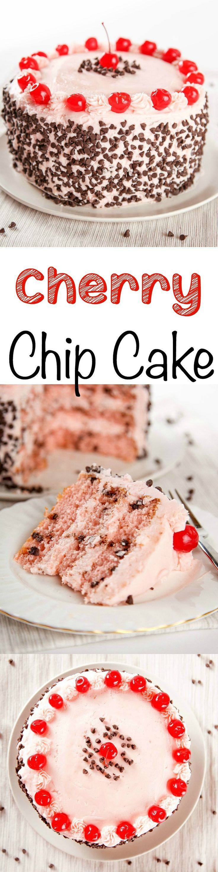 Cherry Chocolate Chip Cake: Super moist cherry cake studded with tons of mini chocolate chips. Tastes like a chocolate covered cherry in cake form!