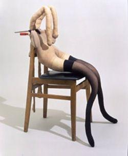 Sarah Lucas 'Pauline Bunny' 1997 Wood/vinyl chair, tights, stockings, kapok, wire, clamp 95 x 64 x 90 cm