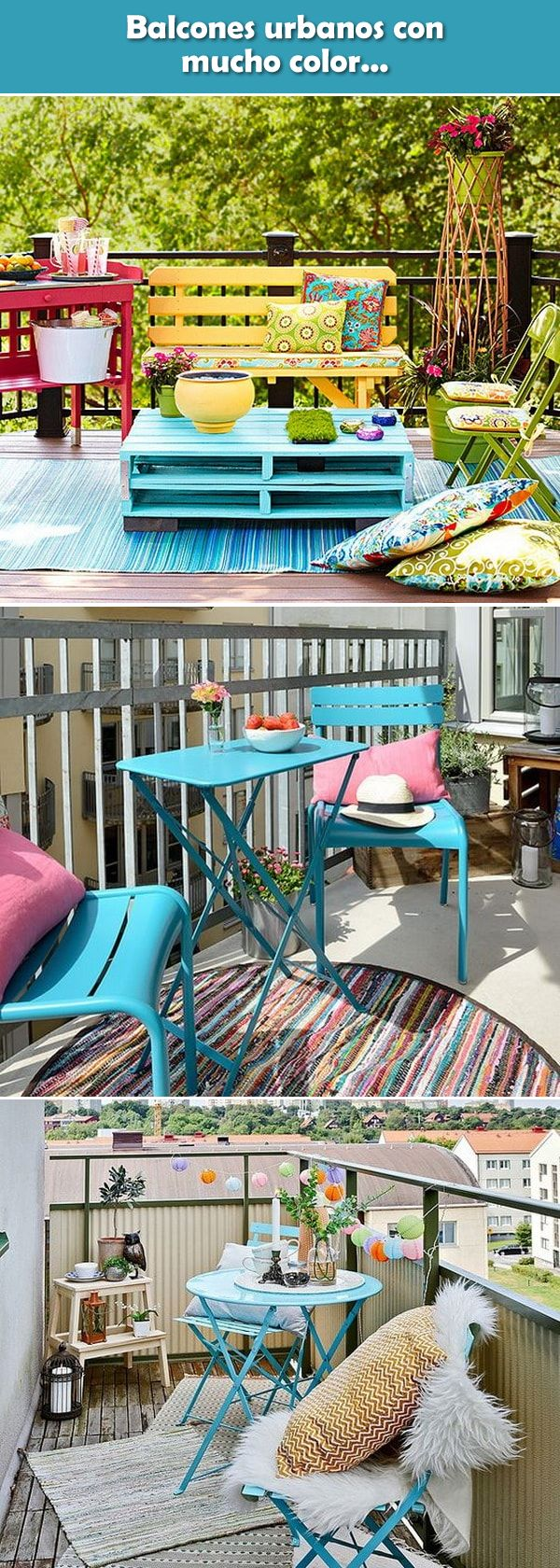 Ideas para balcones pequeños. Balcones pequeños con mucho color. Balcones en departamentos pequeños. #balciones #decoracionexterior