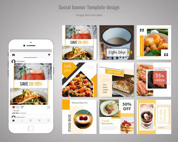 Food Social Media Post Template For Restaurant Social Media Design Social Media Template Instagram Ads Design