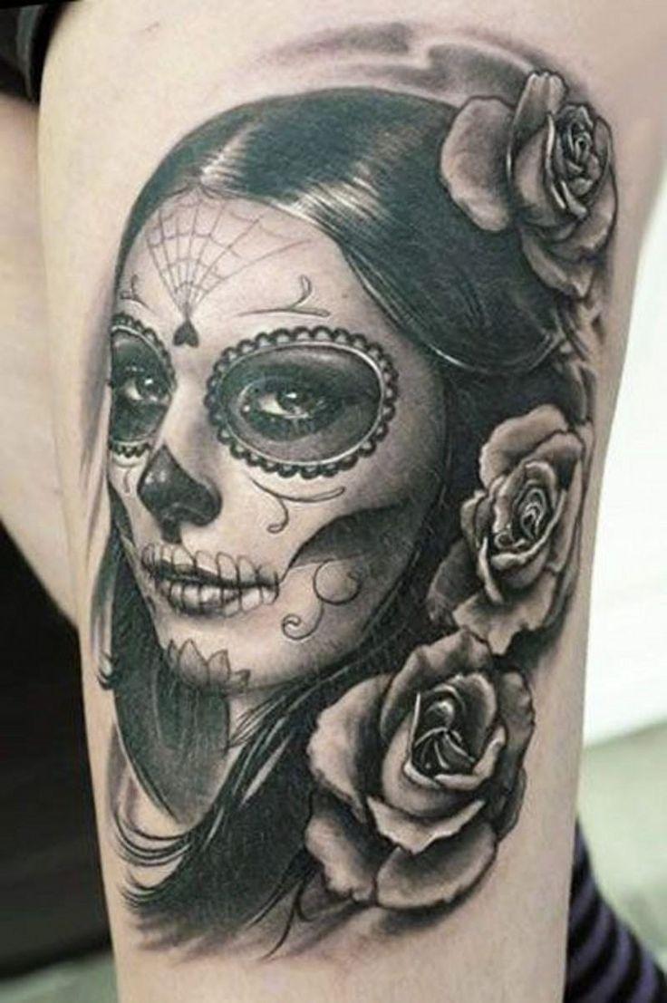 Les 25 meilleures id es de la cat gorie tatouage santa muerte sur pinterest la santa muerte - Signification tatouage tete de mort ...