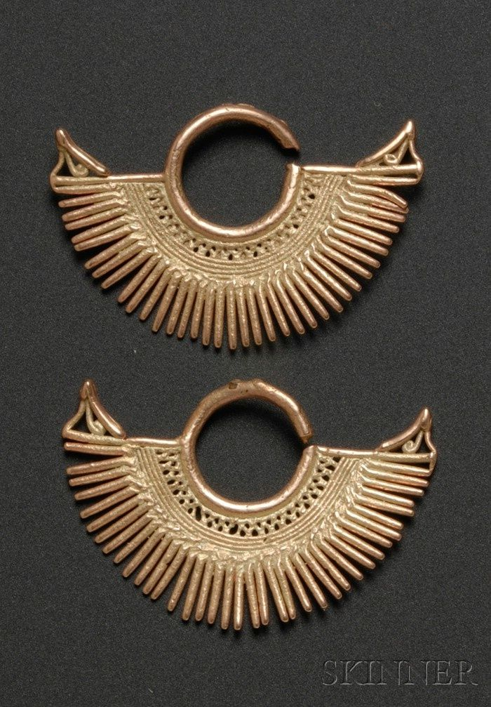 Colombia ~ Sinu | Gold Earrings | Pre-Columbian; ca. 800 - 1500 AD | 533$ ~ Sold