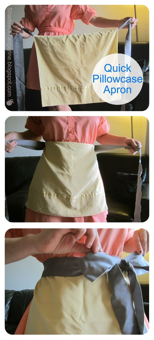 Need an apron for your Halloween costume? Make one quickly with ribbon and a pillowcase.