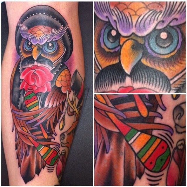 Classic american style tattoo of an owl tattoos for American classic tattoos