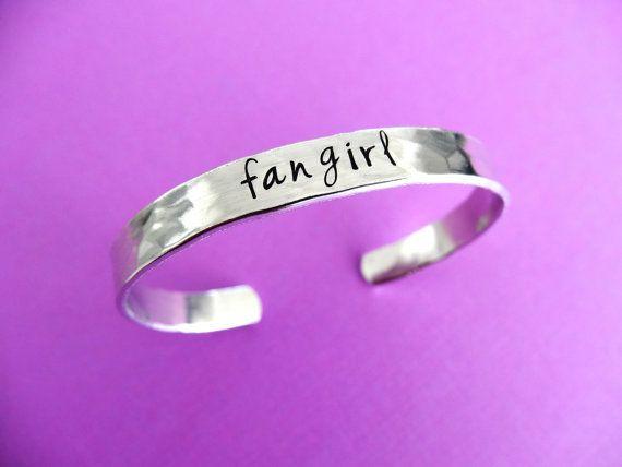 Fangirl Bracelet Fangirl Cuff Fandom Jewelry by TesoroJewelry