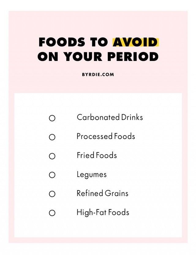 Foods to avoid on your period