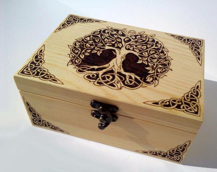 Trinket box tree of life celtic design pyrography