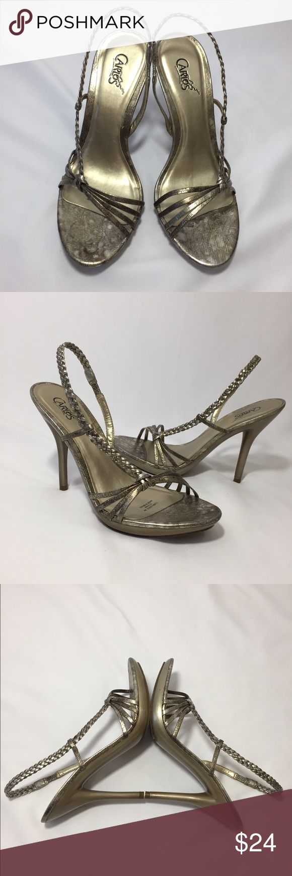 "CARLOS SANTANA pewter gold 3"" heels size 8M Used once indoors! CARLOS by CARLOS SANTANA Pewter gold open toe sling back 3 inch sandal heels size 8M. Excellent used condition!! Carlos Santana Shoes Heels"