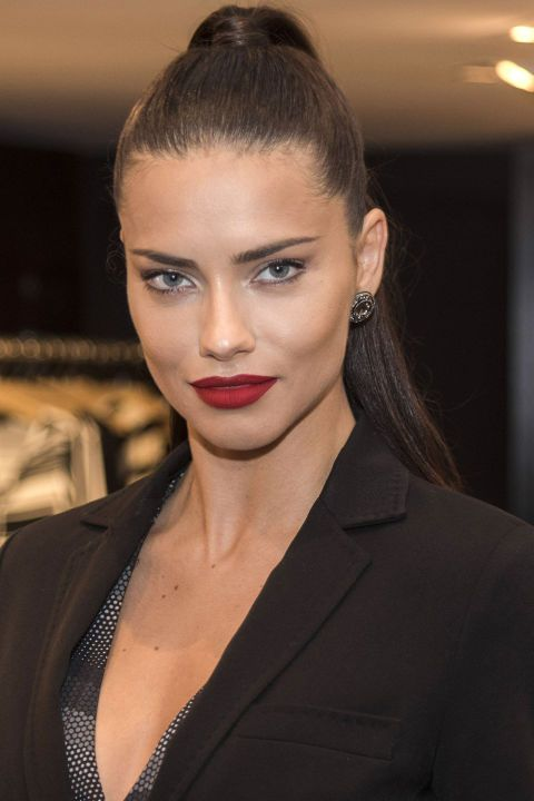 200+ of celebrity inspired beauty tips: Adriana Lima's red lip and high impact hair