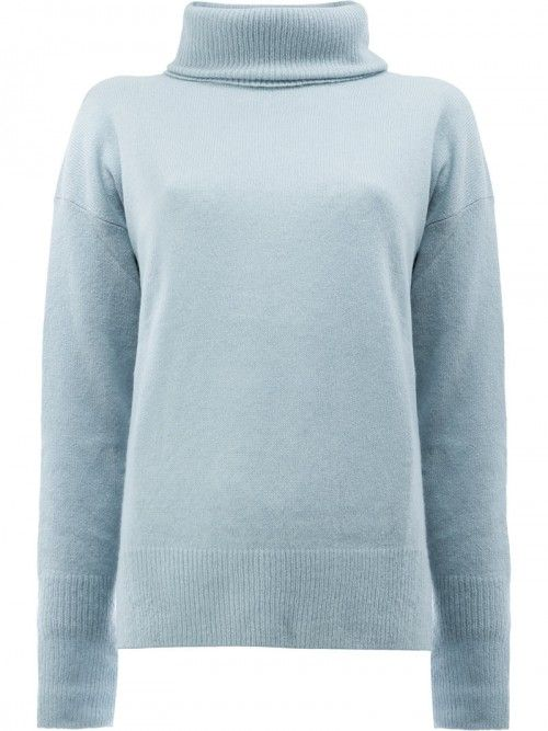 Maison+Ullens+Roll+Neck+Jumper+Women+Silk+Cashmere+Blue+Silk+Cashmere+|+Dress+and+Clothing