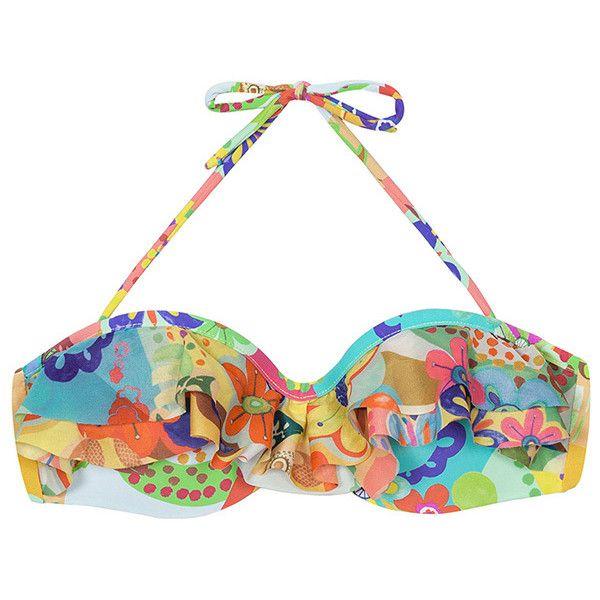 Mar Rio Padded Bandeau Top - Soutien Arte (3.080 RUB) ❤ liked on Polyvore featuring swimwear, bikinis, bikini tops, brown, fringe bikini, colorful bikini, bikini swimwear, brown bikini top and bandeau top bikini