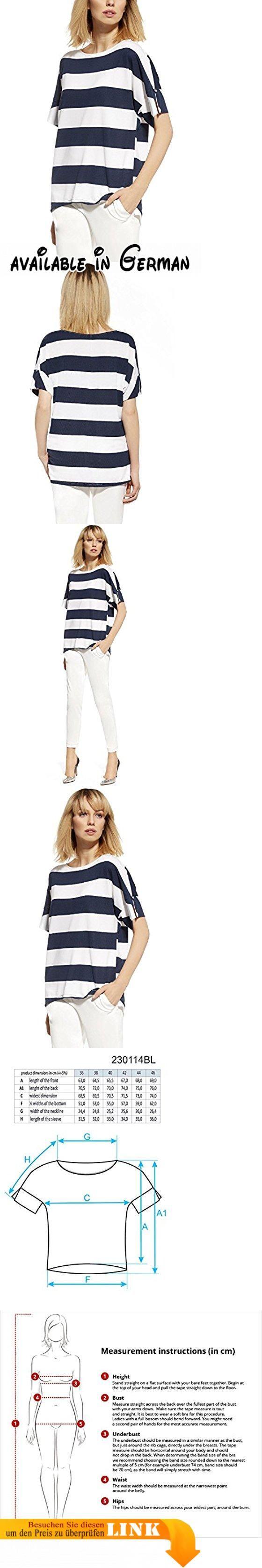 Ennywear 230114 Bluse Damen Gestreift U-Boot Kurzarm Lose Oversize EU, dunkelblau-weiß,44. Schicke, bequeme Bluse mit Streifen, elastisch. Toller Vorschlag für die Arbeit oder den Alltag. Mit U-Boot-Ausschnit und kurzem Arm. Lässt sich mit Röhrenjeans und High-Heels sehr gut kombinieren. Perfekte Passform, hervorragende Verarbeitung, schönes Design #Apparel #SHIRT