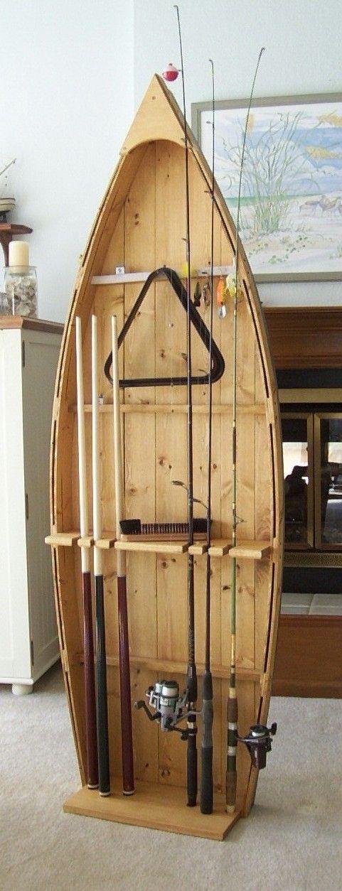 Fishing Rod & Pool Stick Display Storage Rack for Mancave