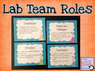 Science Lab Teams {team role posters and cards for working together in science}