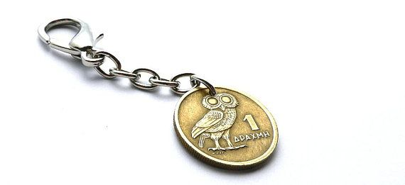 Greek, Coin charm, 1973, Owl, Bird charm, Bird jewelry, Phoenix, Women's accessory, Purse charm, Greek keychain, Handbag charm, Coin, Charm