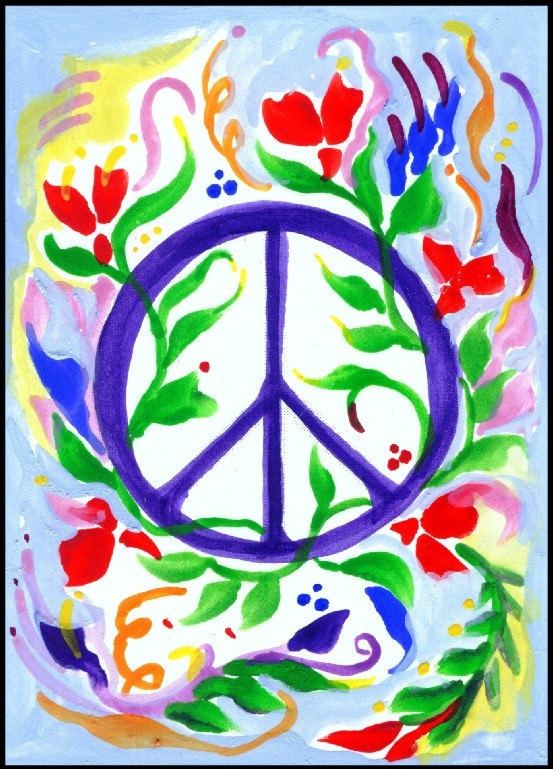 PEACE SIGN Love POSTER Whimsical Hippie Symbol by Heartfulart, $8.00