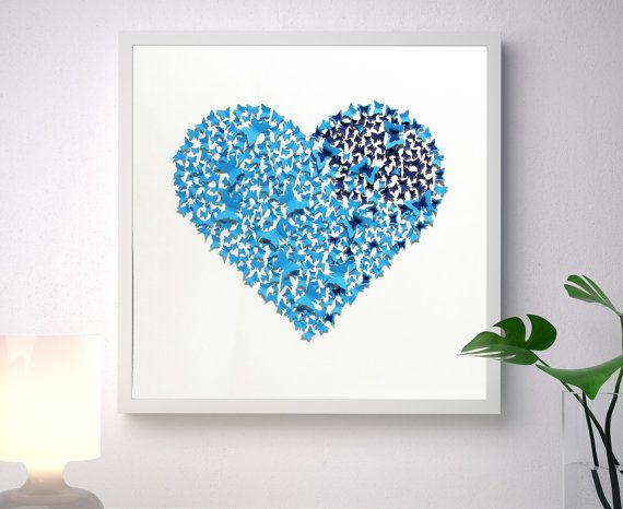 Unique handmade picture, made of more than 400 individually cut and placed 3D light and dark blue art paper butterflies forming a classic heart