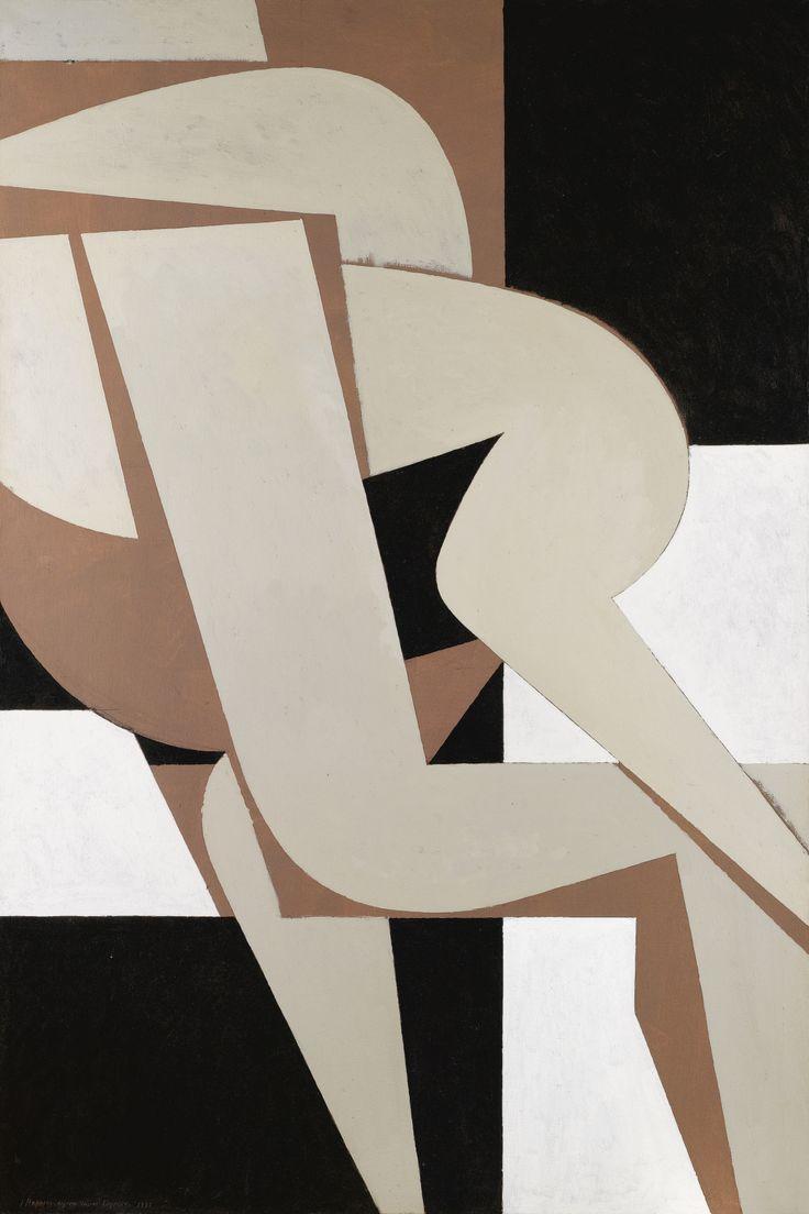 White pictograph  Yannis Moralis (Greek, 1916 - 2009)Erotic, 1988  acrylic on canvas,195 x 130 cm