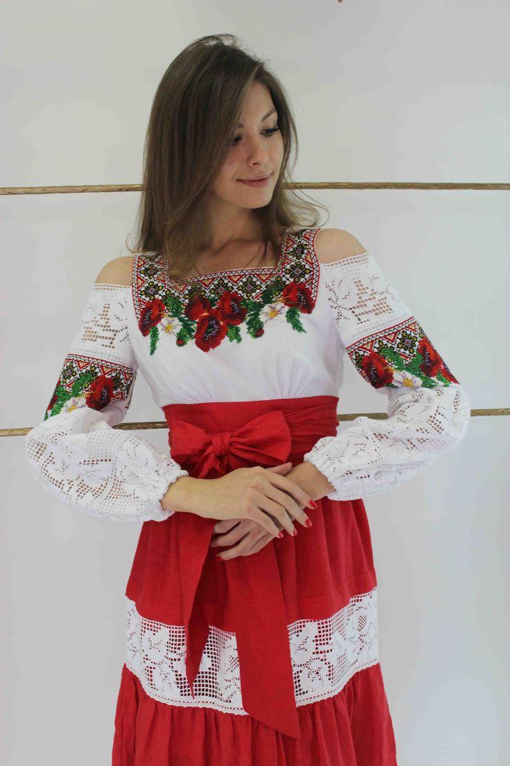 Ukrainian Traditional Handmade Beaded Dress Decorated with