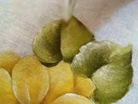 Pintura em tecido Eliane Nascimento: folhas