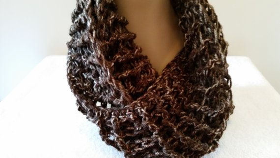 Scarf Infinity Cowl Mobius Handmade Crocheted Brown by softtotouch