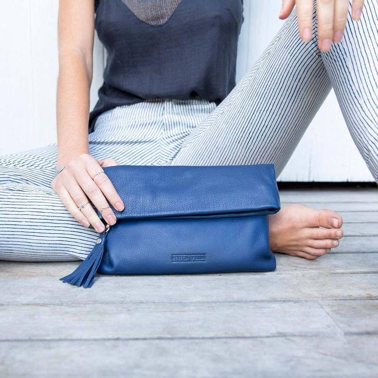 Stitch & Hide | Lily Leather Clutch in Ocean