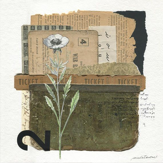 "Papers from an antique war rations booklet inspired this piece. The letters ""i o u"" were added from a cursive writing instruction book and tickets were included to support the theme. The other elements in this original handmade mixed-media abstract collage include a book page,"