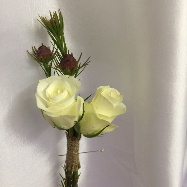 White Akito rose and Jaro leucadendron bouttonniere