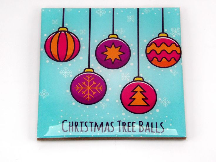 Christmas Tree Balls Drink Coaster Unique Gift MDF Wood by Osarix