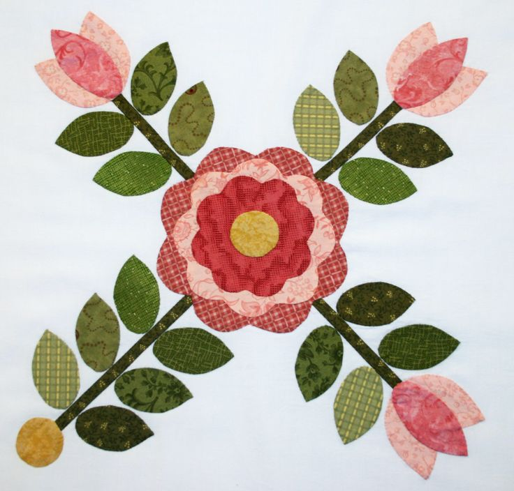Sycamore Hills applique Rose quilt, block #1 ~ free pdf pattern included