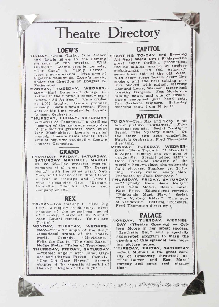 an old clipping describing some of the movies opening at the the old Palace