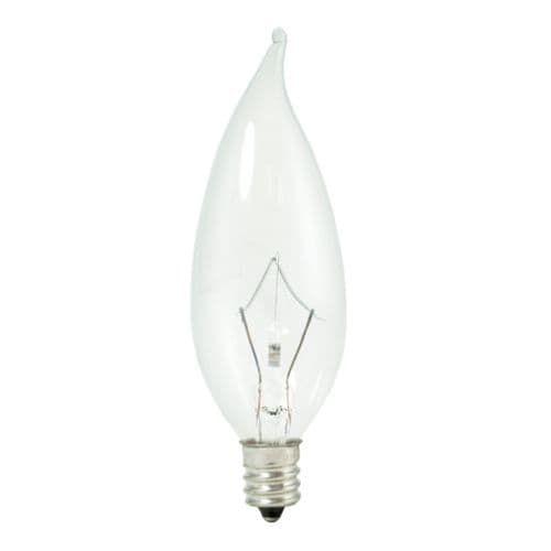 Bulbrite 460325 Pack of (10) 25 Watt Dimmable CA10 Shaped Candelabra (E12) Base Xenon / Krypton Bulbs, White