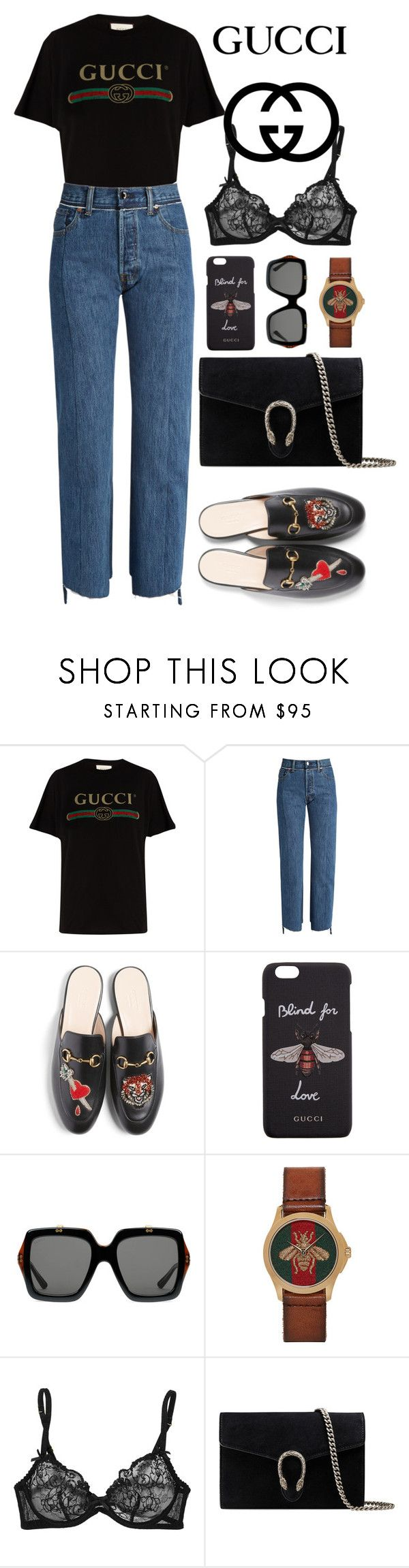 """""""street style #66: total look Gucci"""" by veronicagnzlz ❤ liked on Polyvore featuring Gucci, Vetements and Agent Provocateur"""