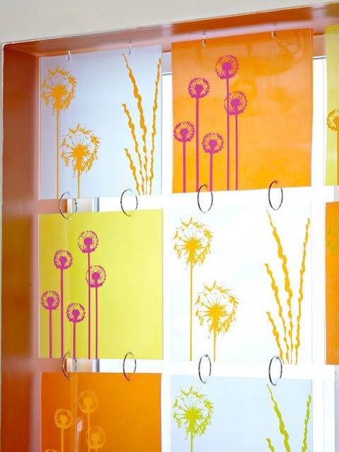 The homeowner/designer wanted to take advantage of the sunlight streaming in through the basement windows. But she didn't want to sacrifice privacy. So she had a plastics store cut these 12-inch panels of plexiglass and drill holes into the top and bottom of each piece. For color and fun, she affixed vellum and scrapbook paper to the back of each piece. Finally, she connected the panels with binder rings to create this completely unique window treatment.
