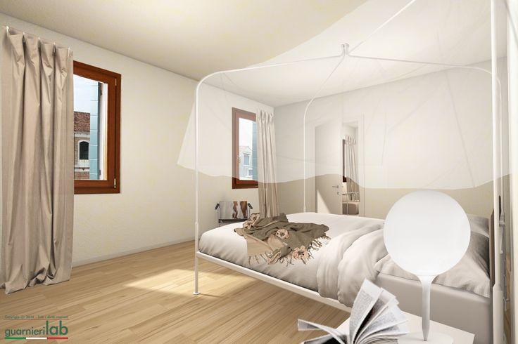 Render camera da letto con letto a baldacchino #architettura #interni